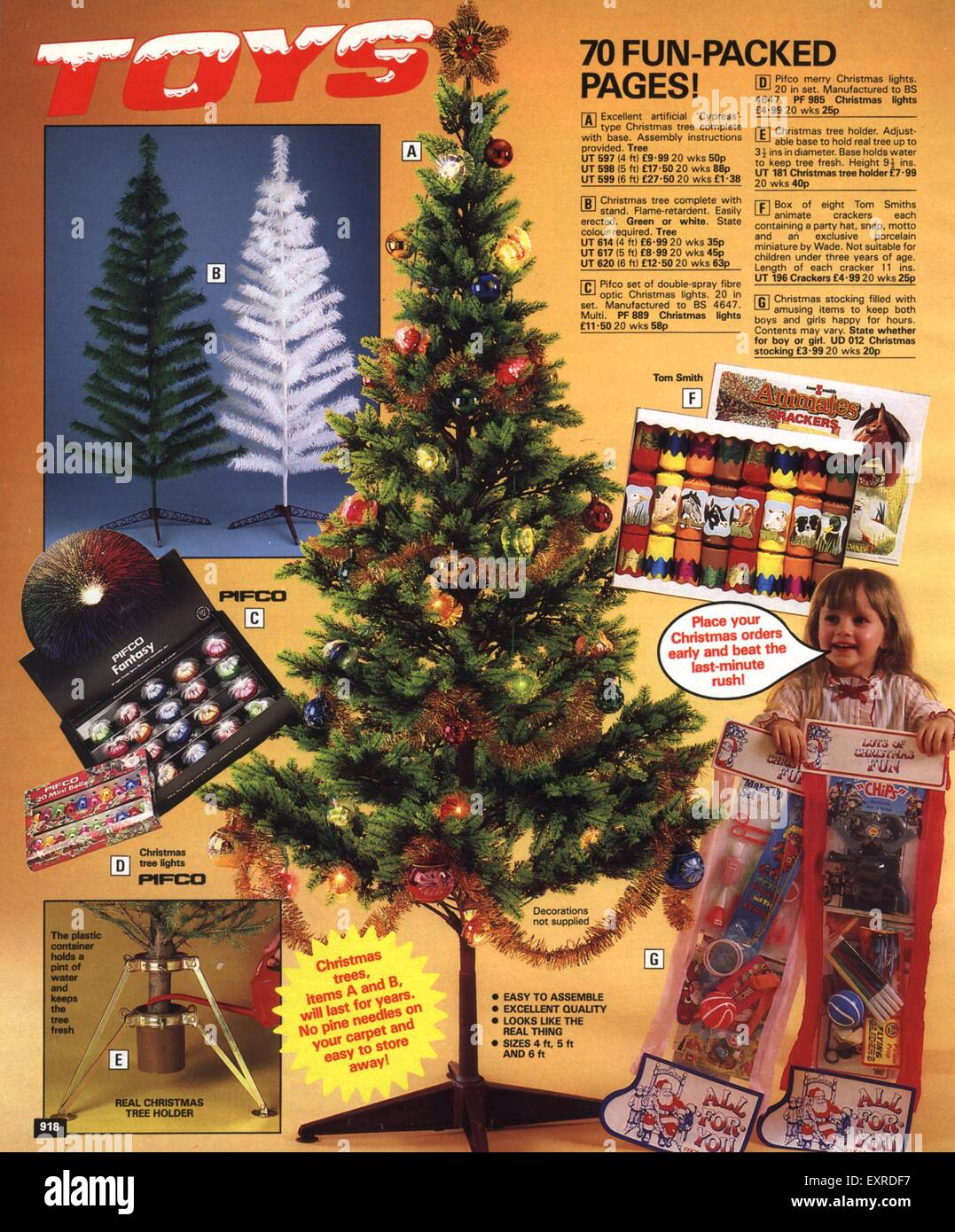 1980s uk christmas catalogue brochure plate stock image - 1980s Christmas Decorations