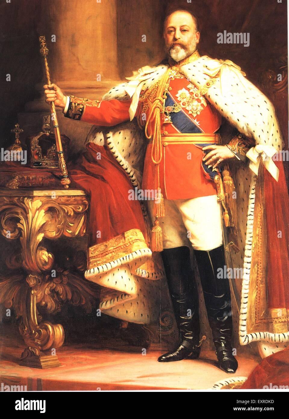 1900s UK King Edward VII Book Plate - Stock Image