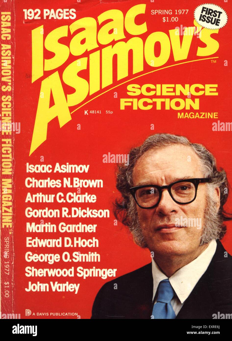 1970s UK Isaac Asimov's Science Fiction Magazine Cover - Stock Image