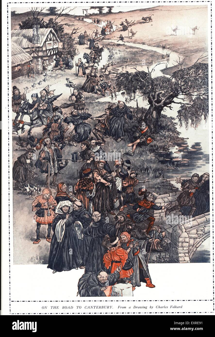 1920s UK The Canterbury Tales Book Plate - Stock Image