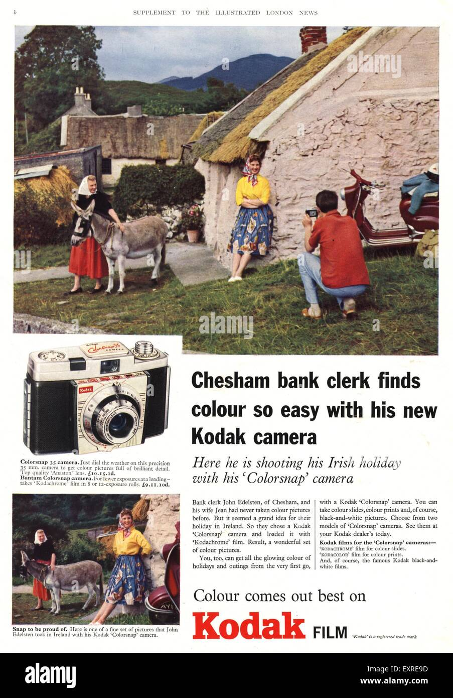 1950s UK Kodak Magazine Advert - Stock Image