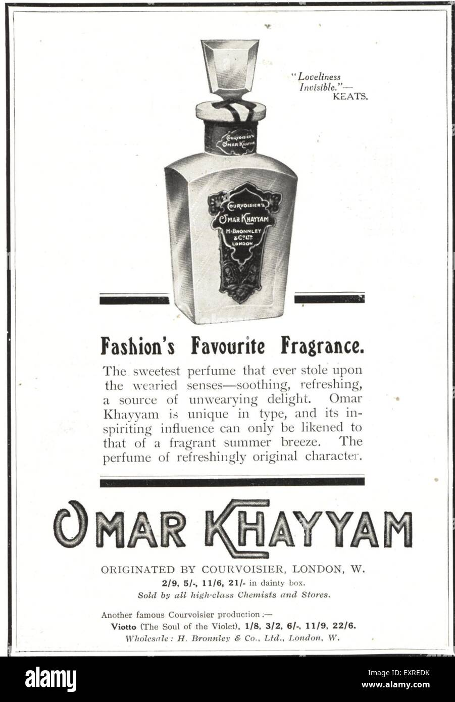 1910s UK Omar Khayyam Magazine Advert - Stock Image
