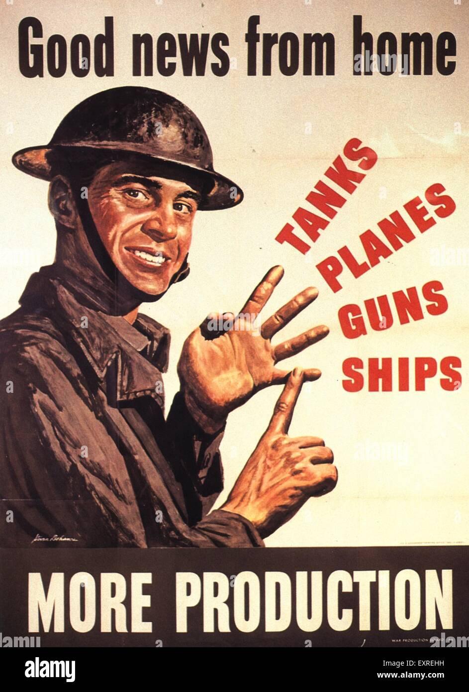 1940s USA Propaganda WW2 Poster - Stock Image