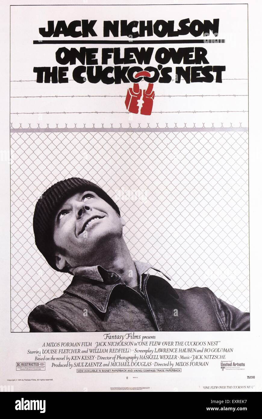 1970s USA One Flew Over The Cuckoo's Nest Film Poster - Stock Image