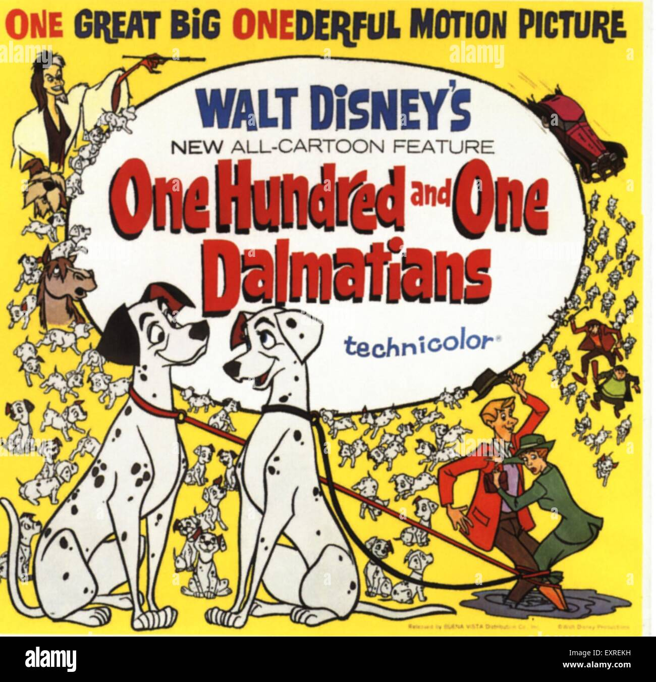 1960s USA One Hundred And One Dalmations Film Poster - Stock Image