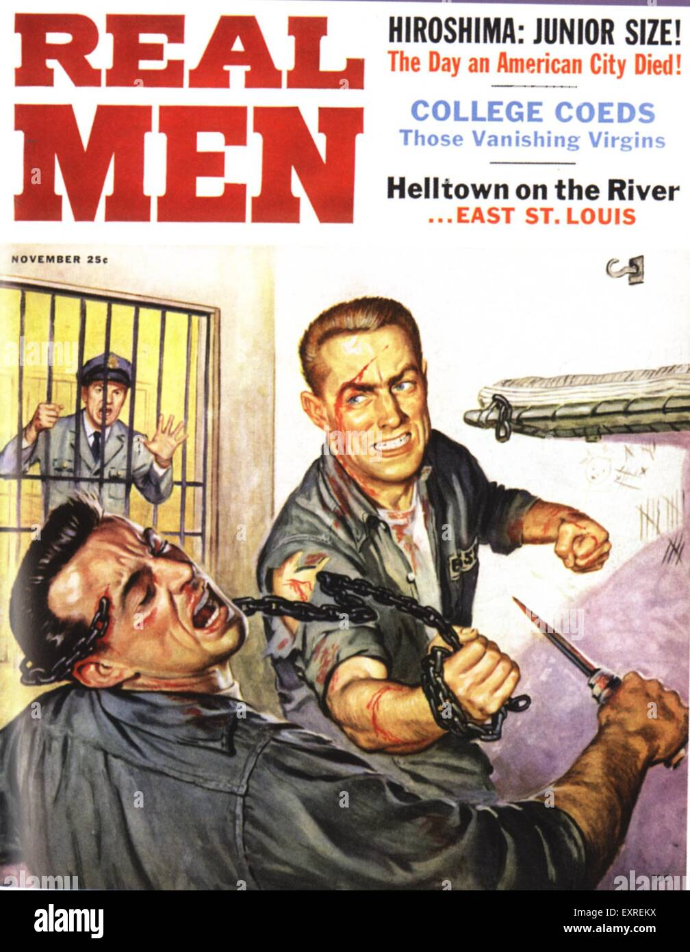 1950s USA Real Men Pulp Fiction Magazine Cover - Stock Image