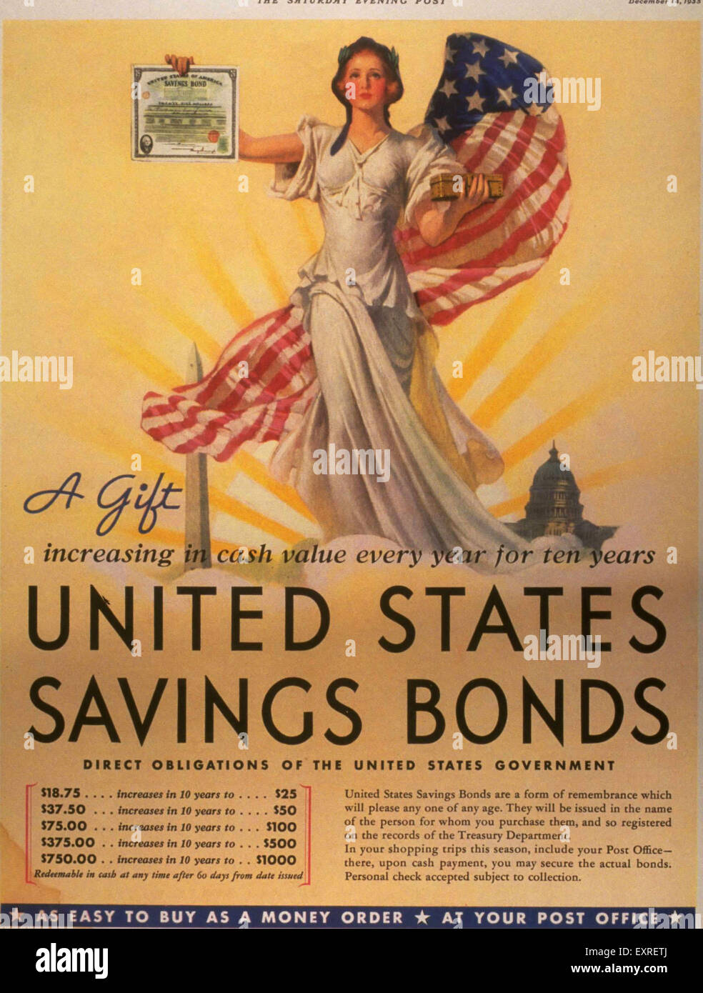 1930s USA Savings Bonds Poster - Stock Image