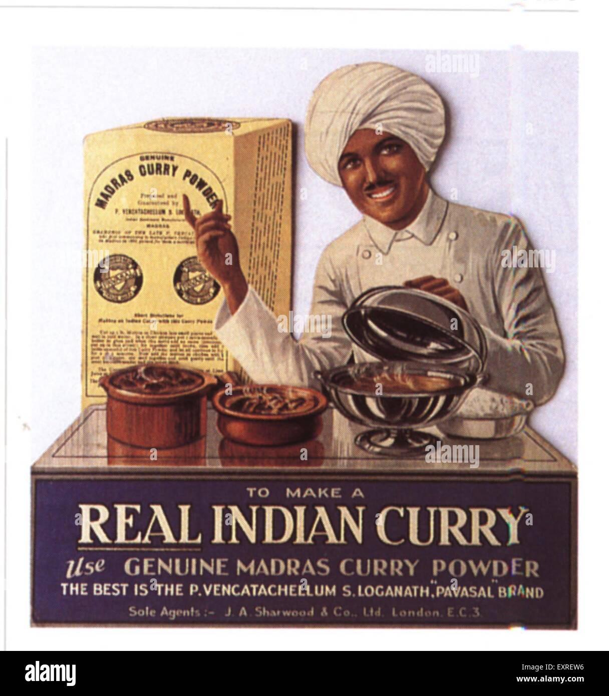 1910s UK Indian Food Curry Magazine Advert Stock Photo