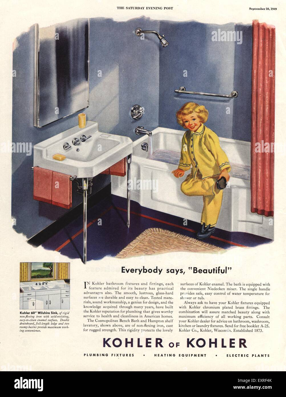 1940s USA Kohler Magazine Advert Stock Photo: 85339315 - Alamy
