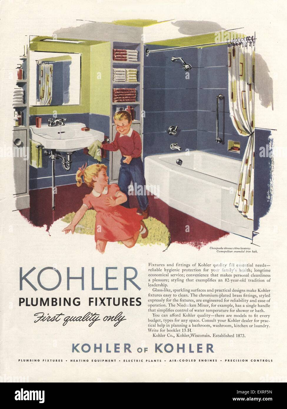 1950s USA Kohler Magazine Advert Stock Photo: 85339345 - Alamy