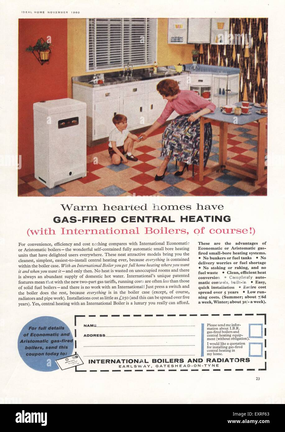 1960s UK International Boilers Interiors Magazine Advert