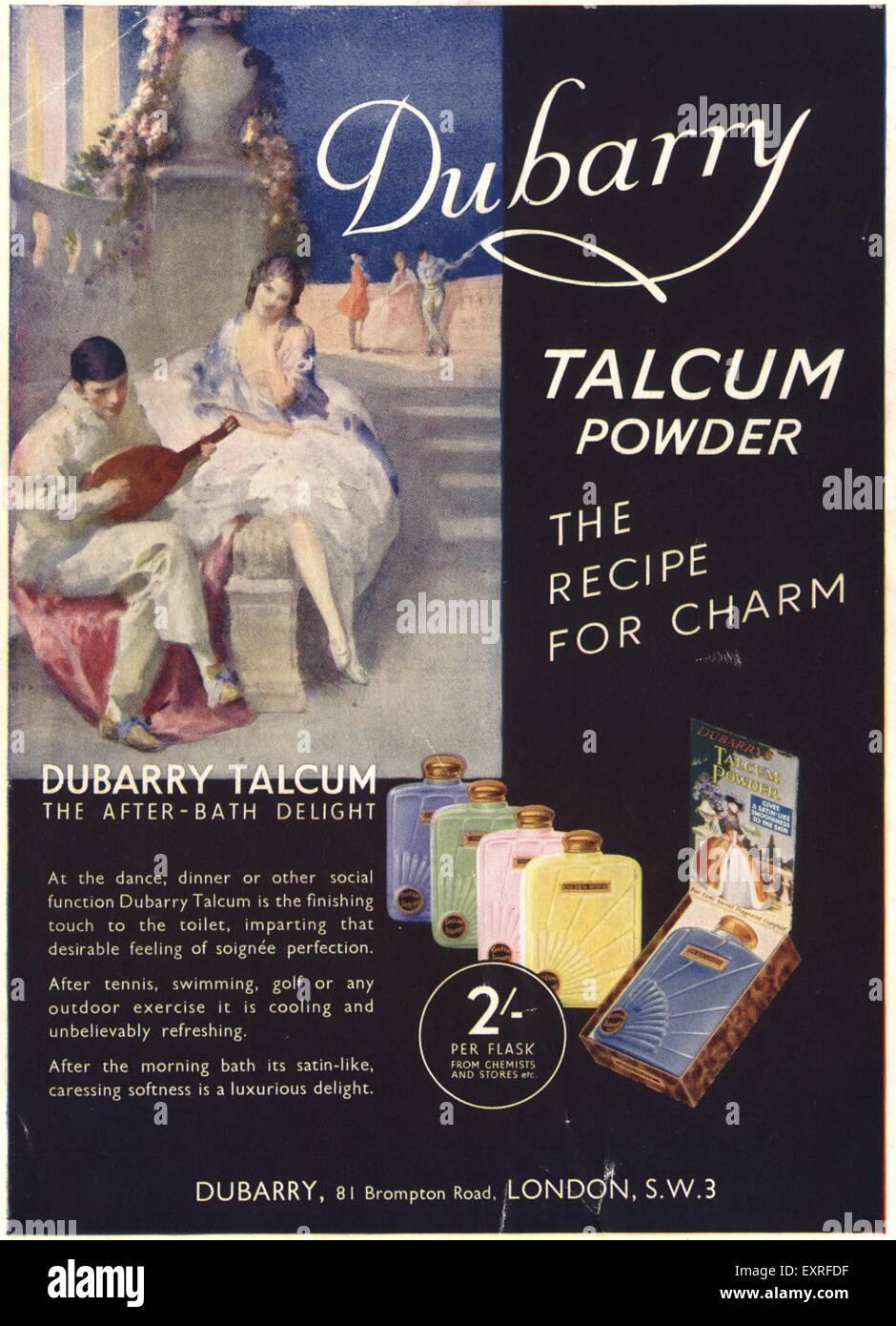 1930s UK Dubarry et cie Magazine Advert - Stock Image
