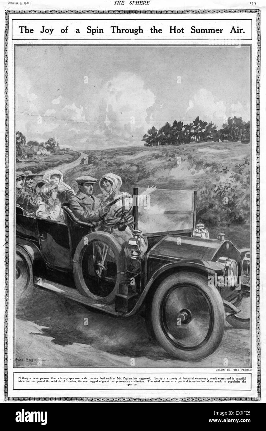 1910s UK Summers Day Drive Magazine Plate - Stock Image
