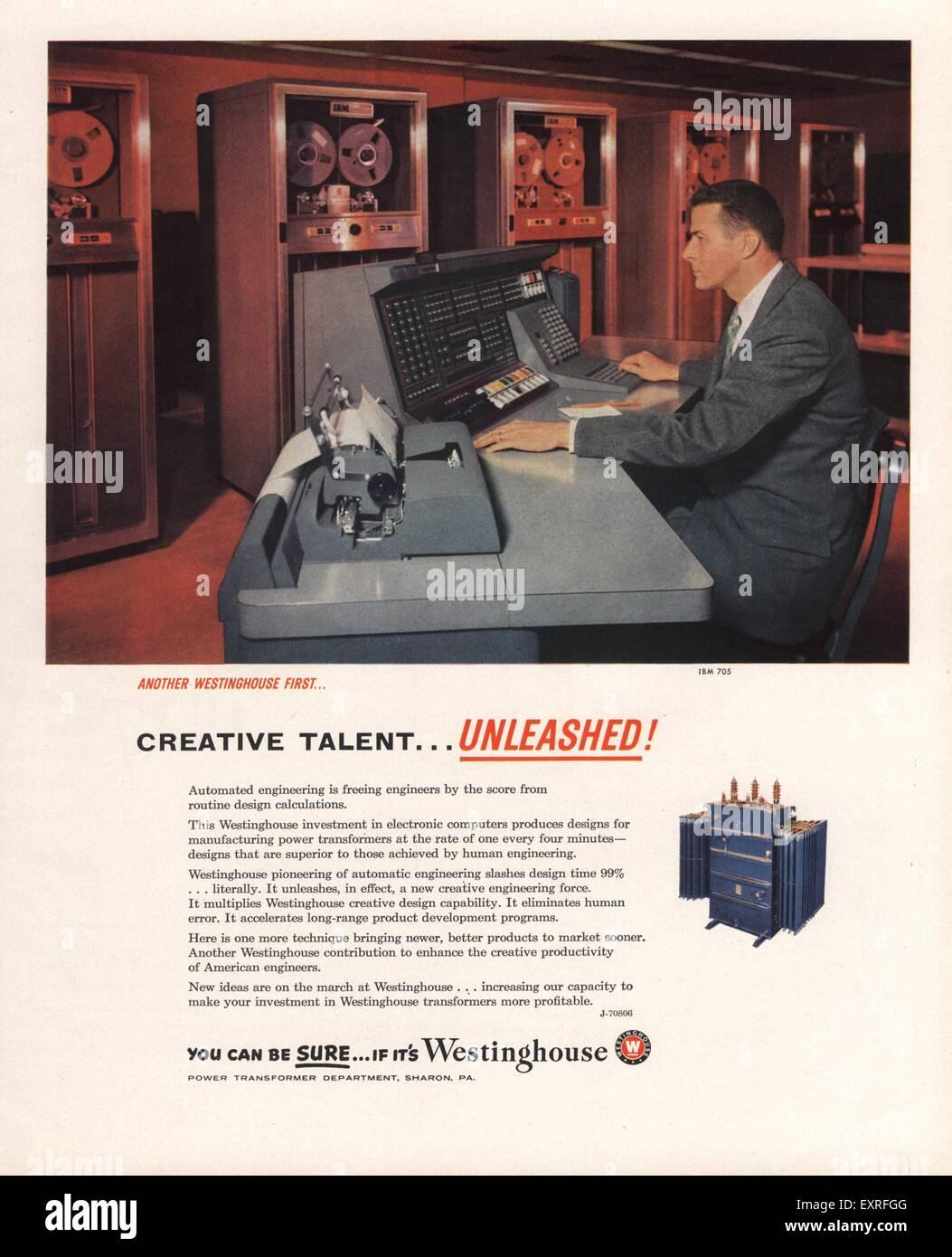 1950s USA Westinghouse Magazine Advert - Stock Image