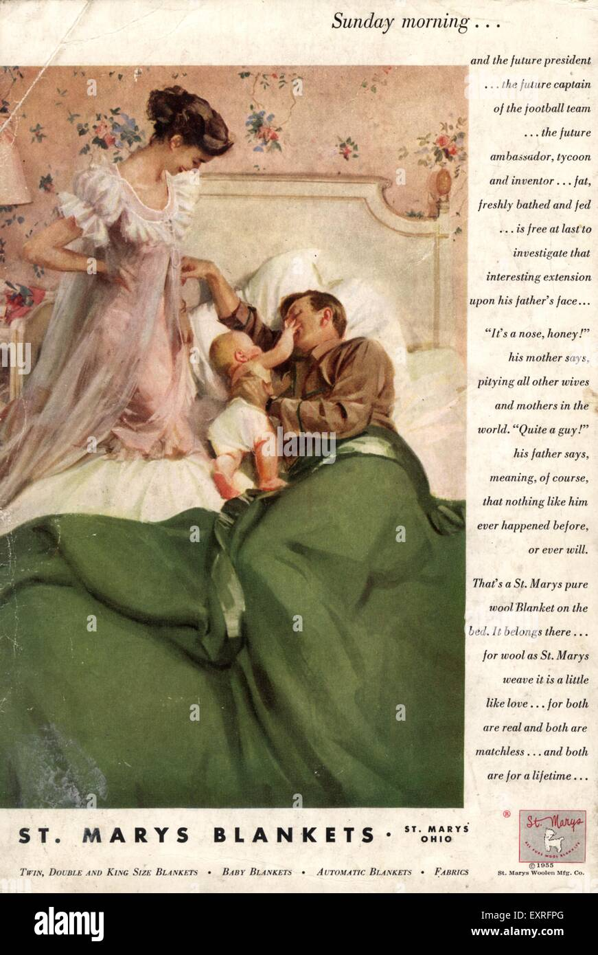 1950s USA St Marys Blankets Magazine Advert - Stock Image