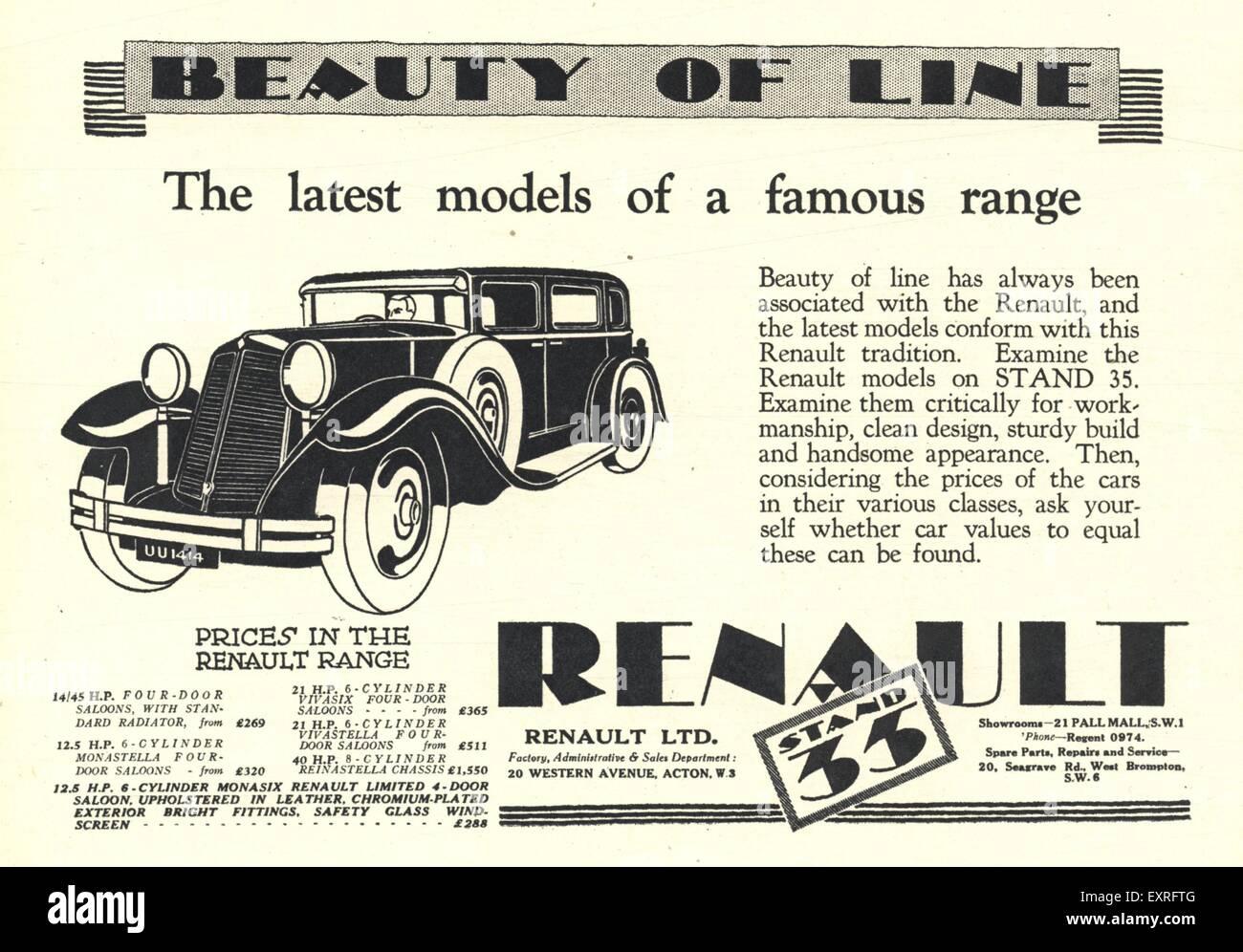 1920s UK Renault Magazine Advert Stock Photo: 85339872 - Alamy