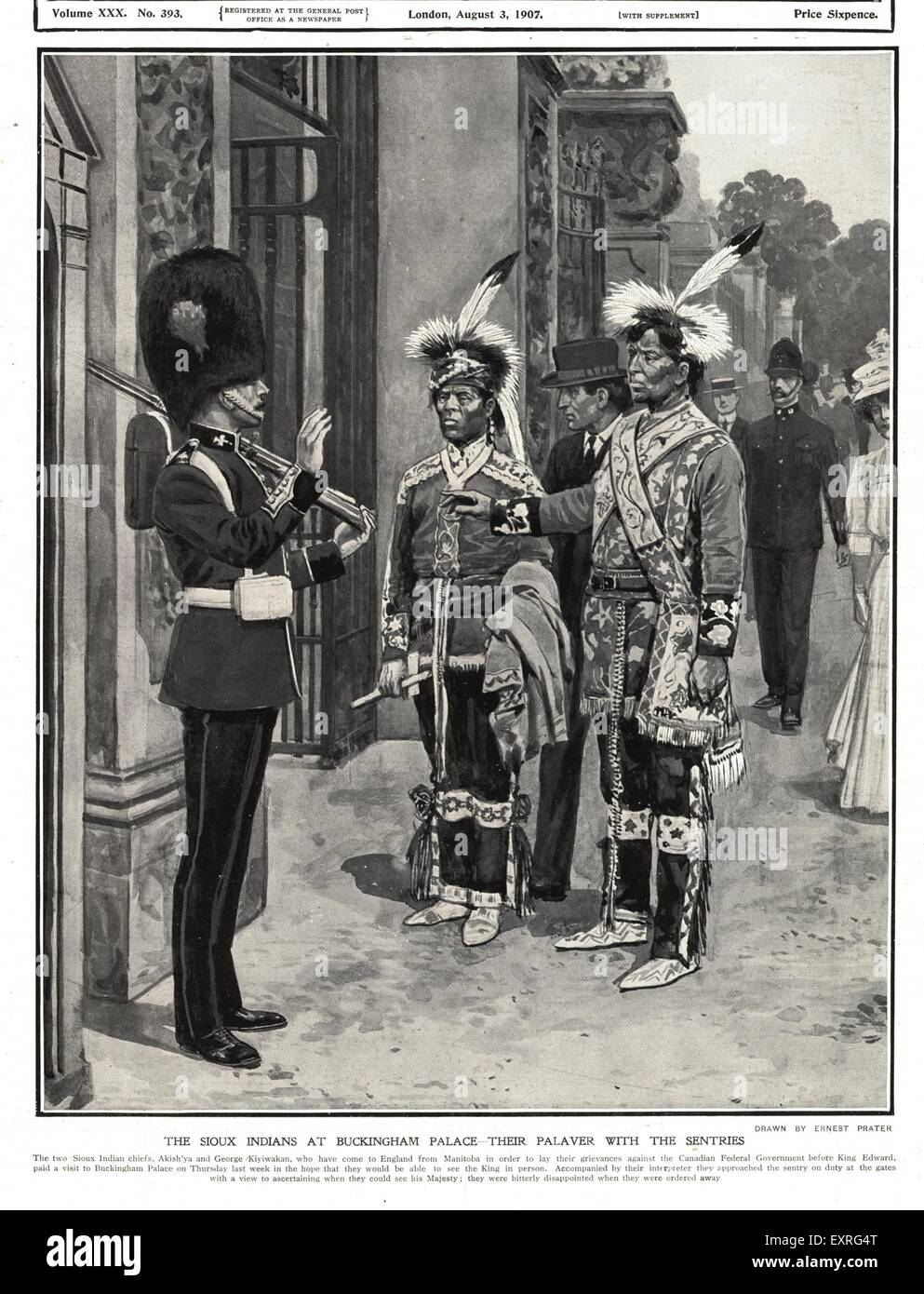 1900s UK Sioux Indians at  the Palace Magazine Plate - Stock Image