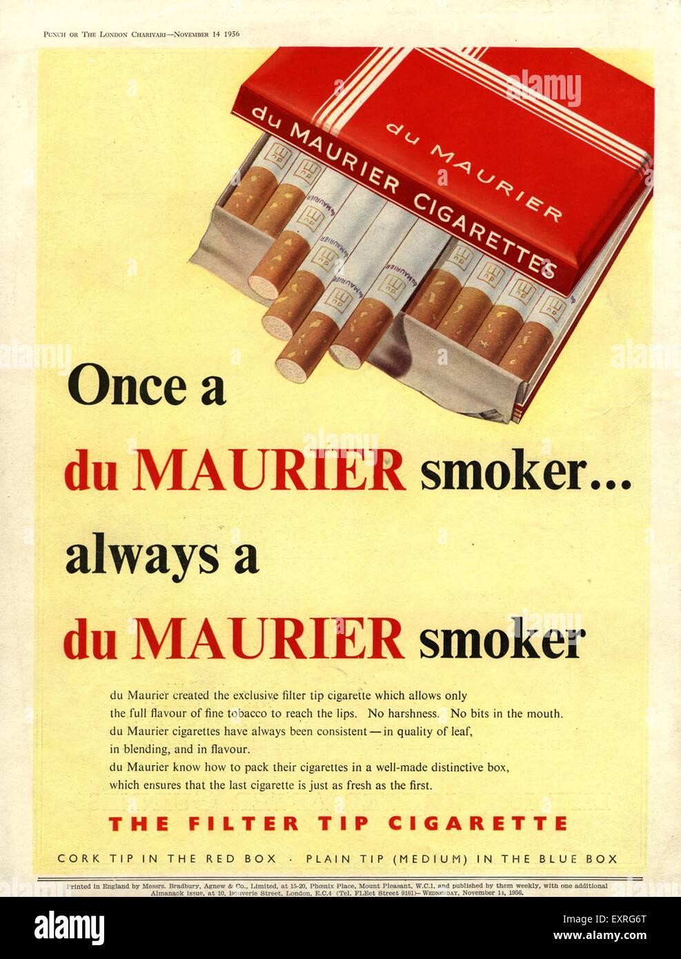 1950s UK Du Maurier Magazine Advert - Stock Image
