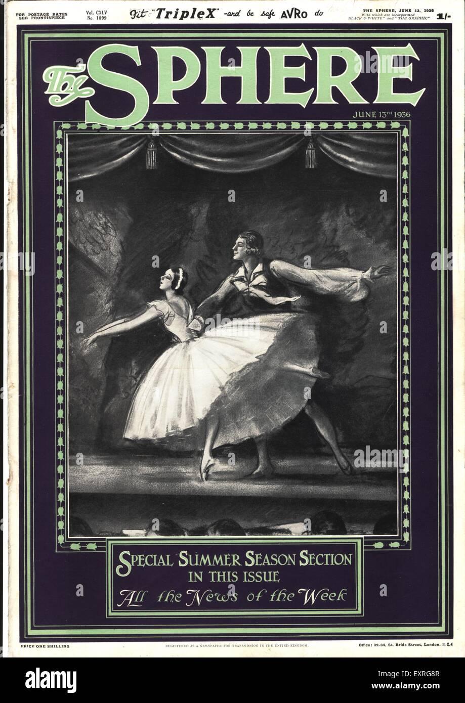 1930s UK The Sphere Magazine Cover - Stock Image