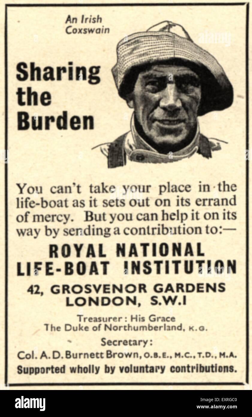 1960s UK Royal National Lifeboat Institution Magazine Advert - Stock Image