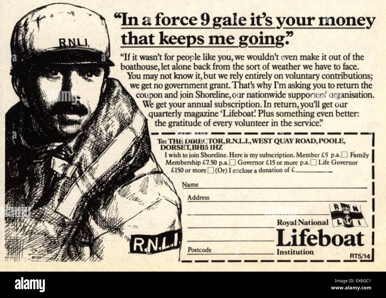 1980s UK Royal National Lifeboat Institution Magazine Advert - Stock Image