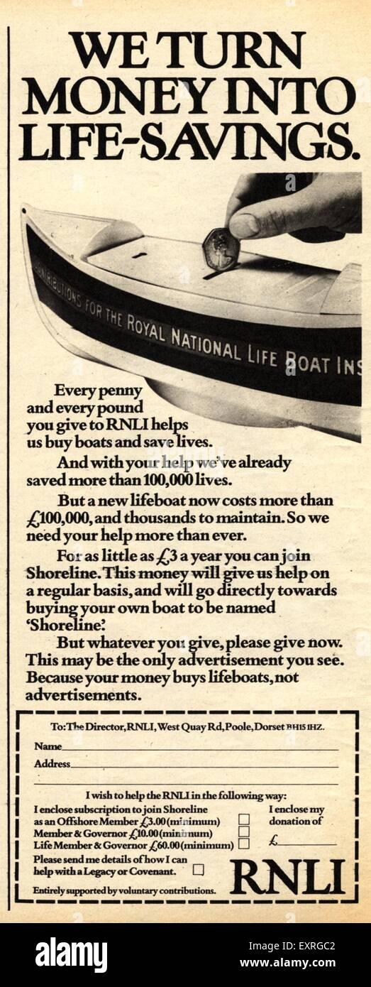 1970s UK Royal National Lifeboat Institution Magazine Advert - Stock Image