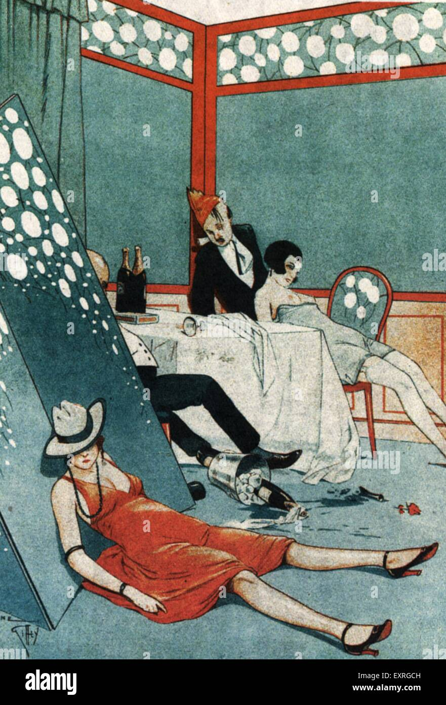 1920s France After The Party Magazine Plate - Stock Image