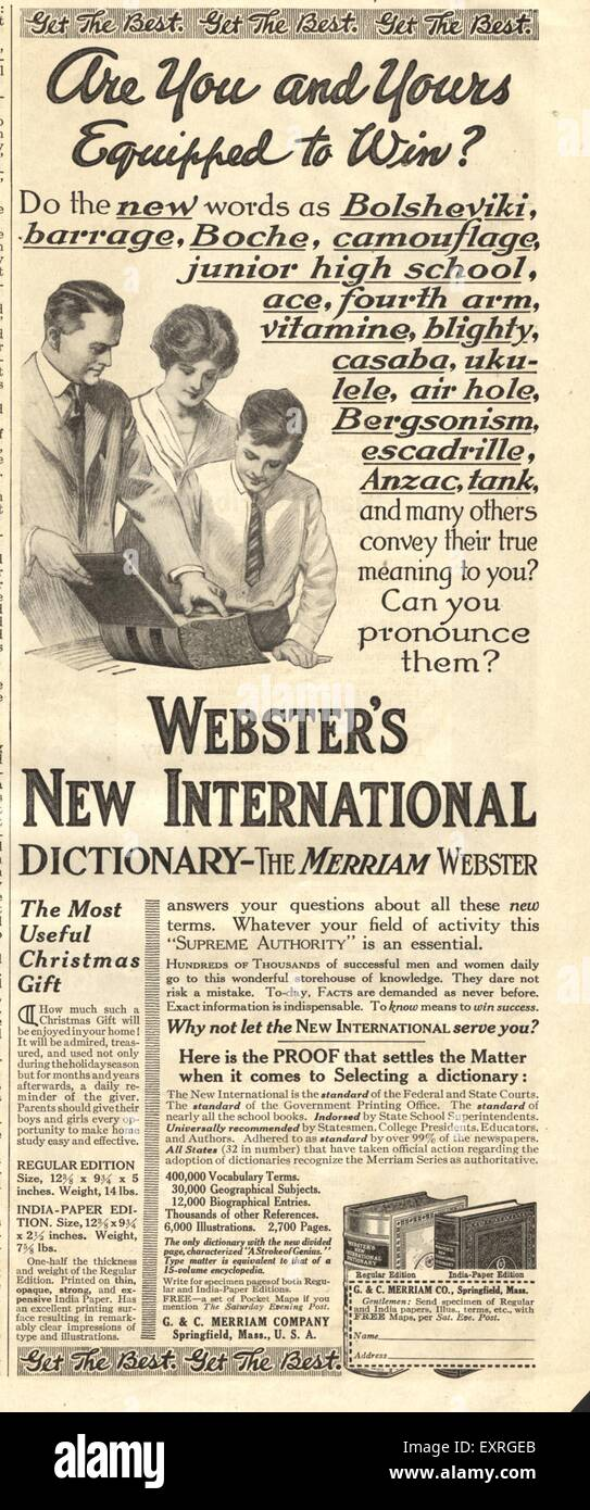 1910s UK Webster's Magazine Advert - Stock Image