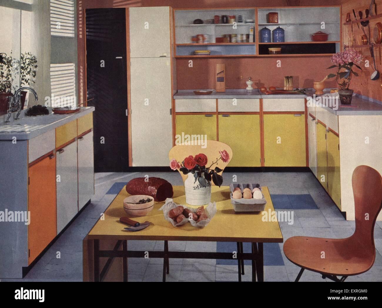 1950s Uk Interiors Kitchens 1950s Magazine Advert Stock Photo Alamy