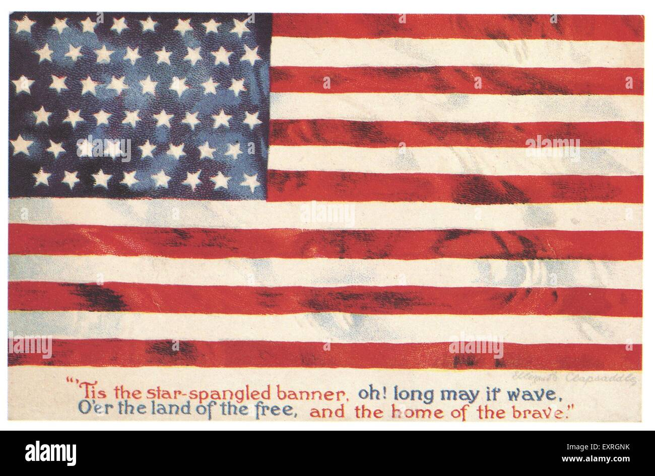 1900s USA Flags Stars and Stripes July 4th Greetings Card - Stock Image