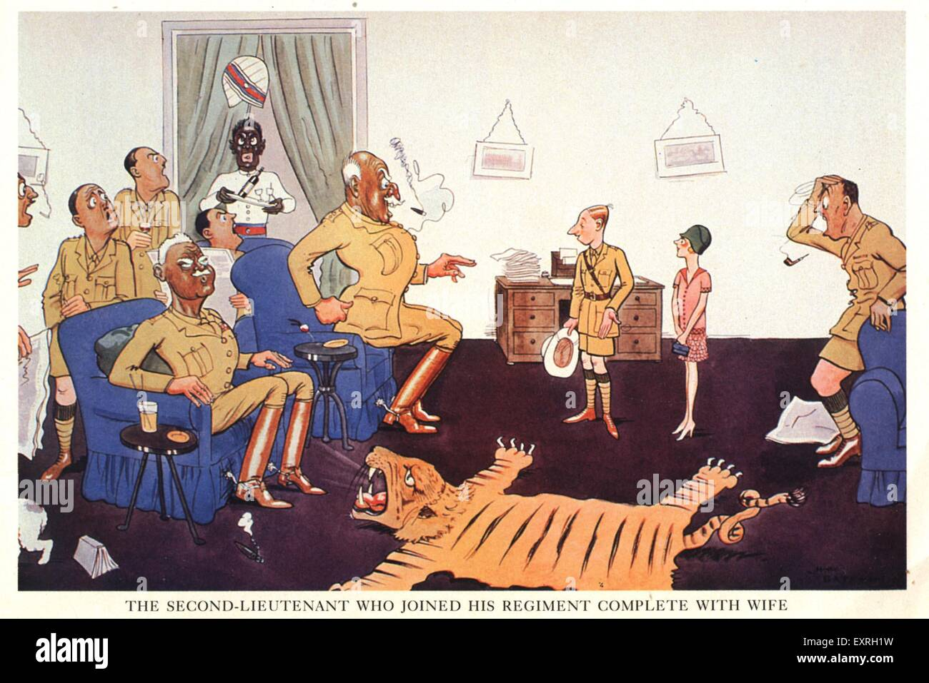 1930s UK The Regiment Comic/ Cartoon Plate - Stock Image