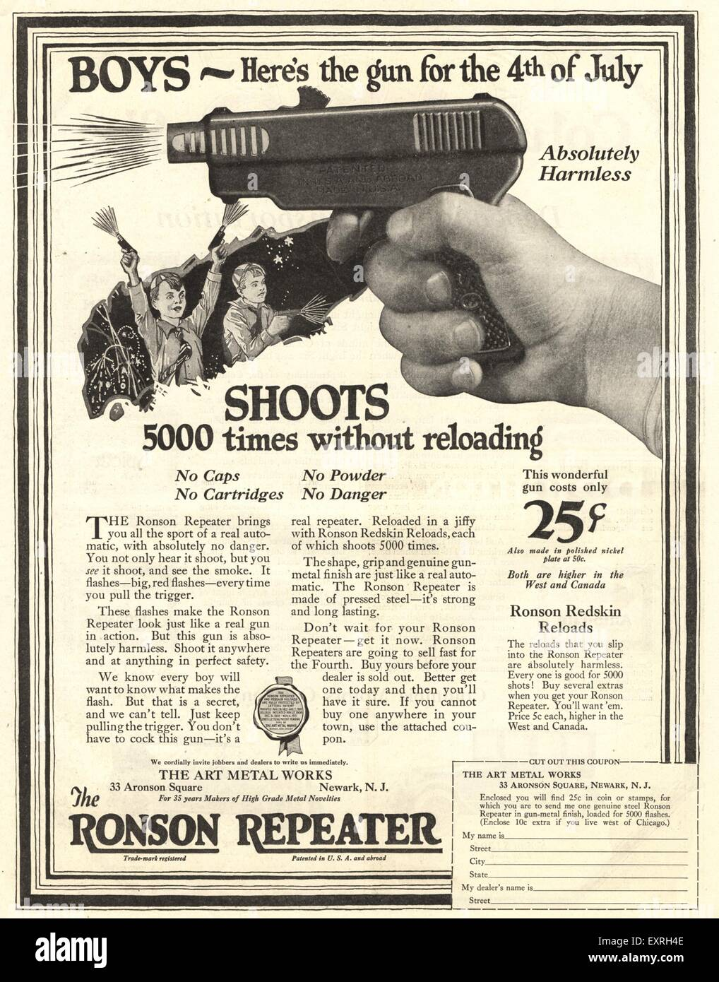 1920s USA The Ronson Repeater Magazine Advert - Stock Image