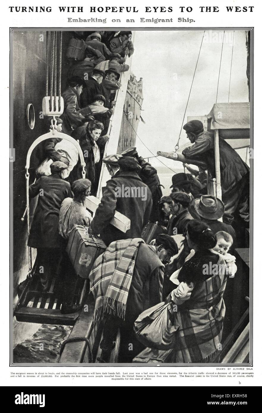 1900s UK The Emigrant Ship Magazine Plate - Stock Image