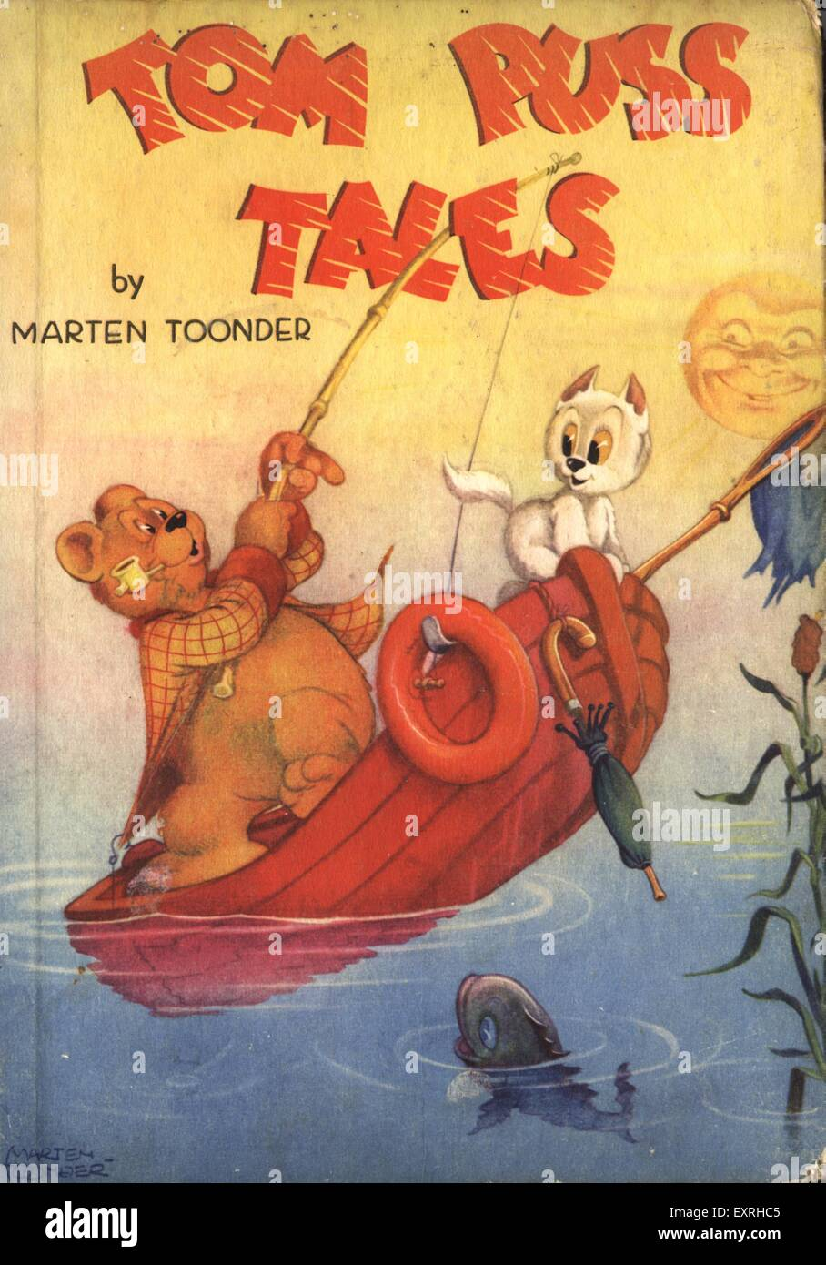 1950s UK Tom Puss Tales Book Cover - Stock Image