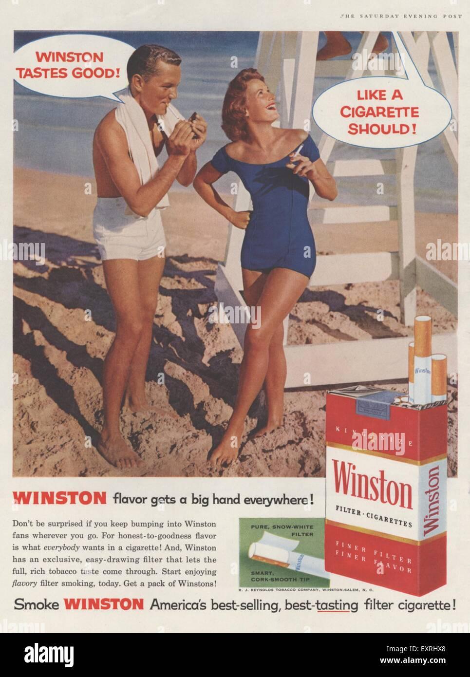 1950s USA Winston Magazine Advert - Stock Image