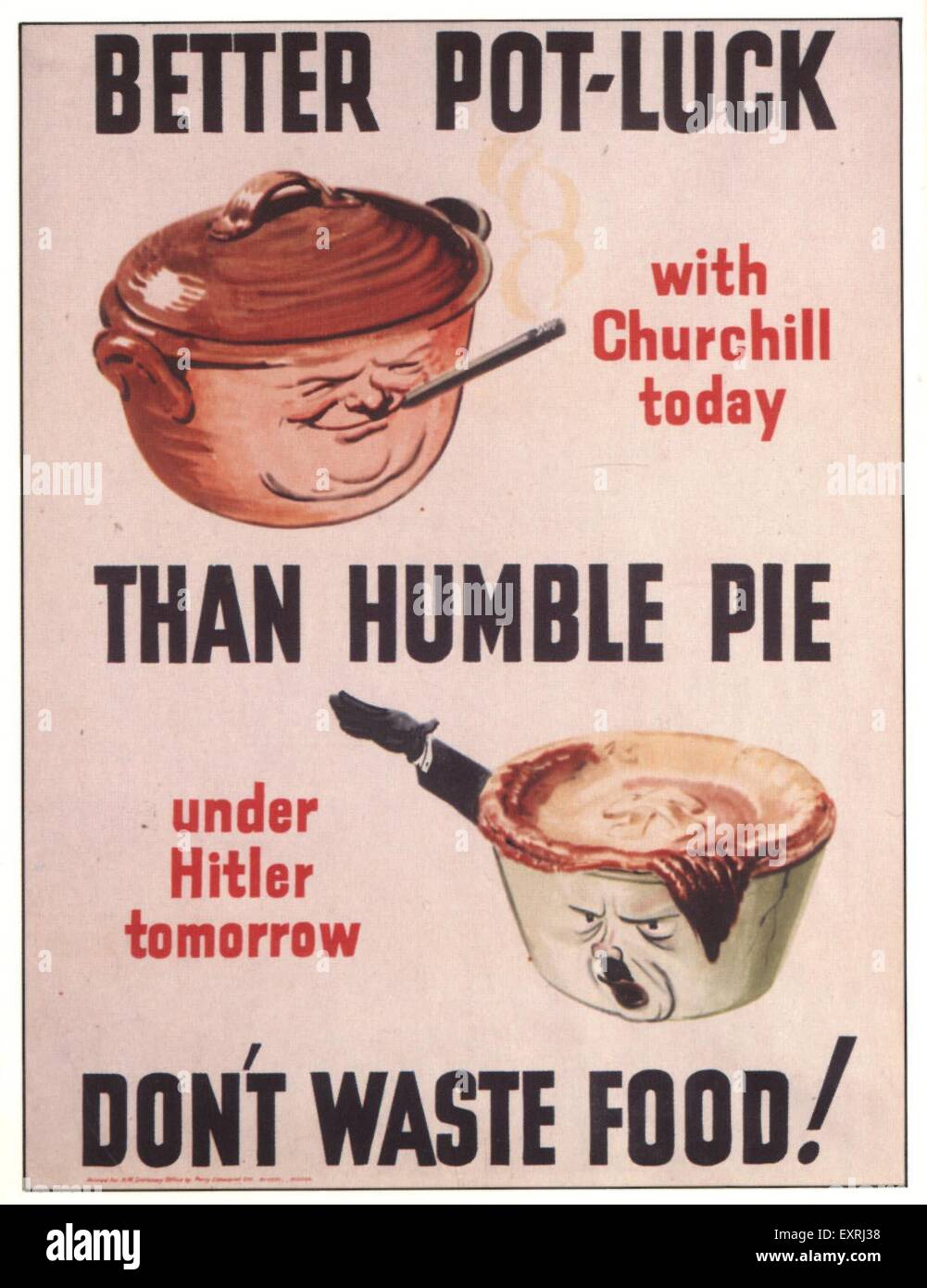 1940s UK Don't Waste Food Poster - Stock Image