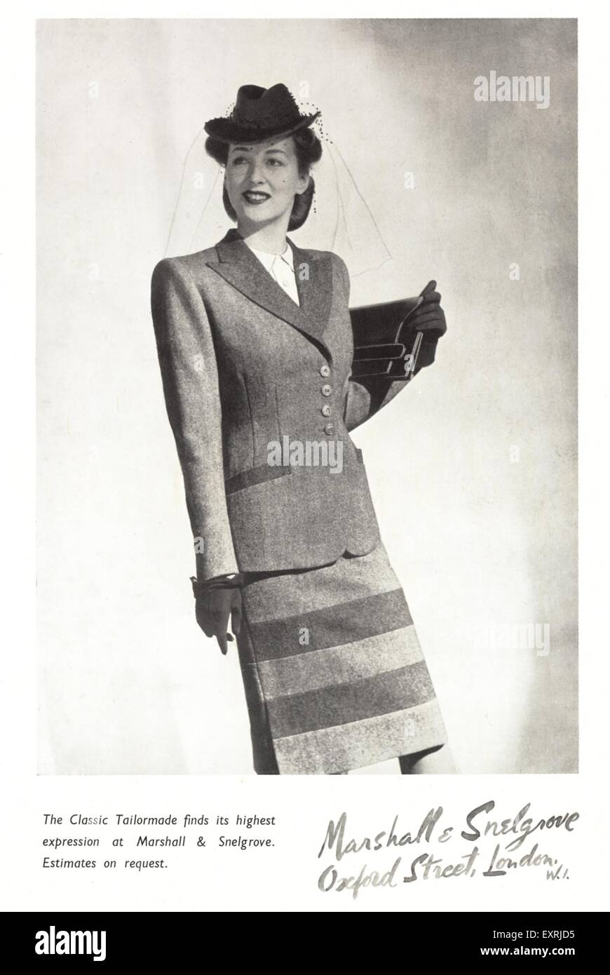 1940s UK Marshall & Snelgrove Magazine Advert - Stock Image
