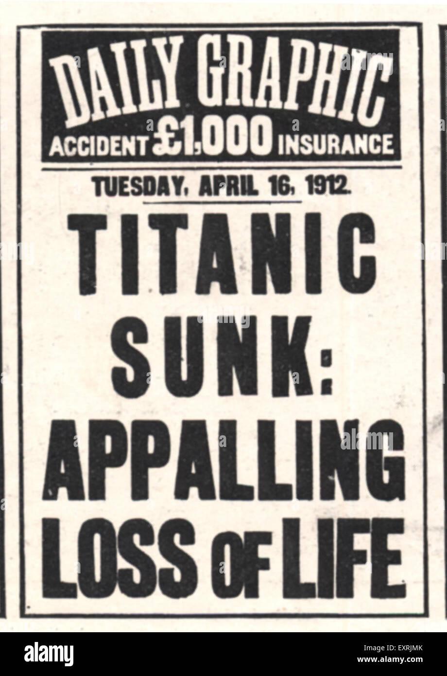 1910s UK The Titanic Poster - Stock Image