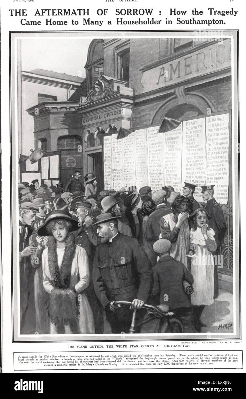 1910s UK The Titanic Magazine Plate - Stock Image