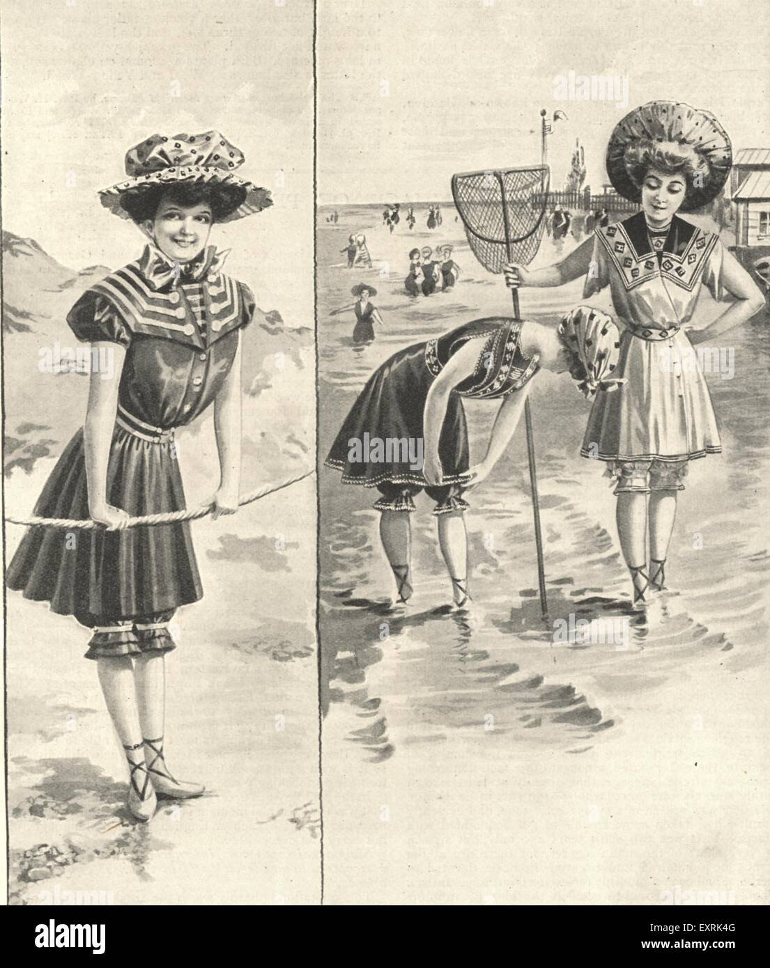 1890s UK Ladies on the Beach Magazine Plate - Stock Image