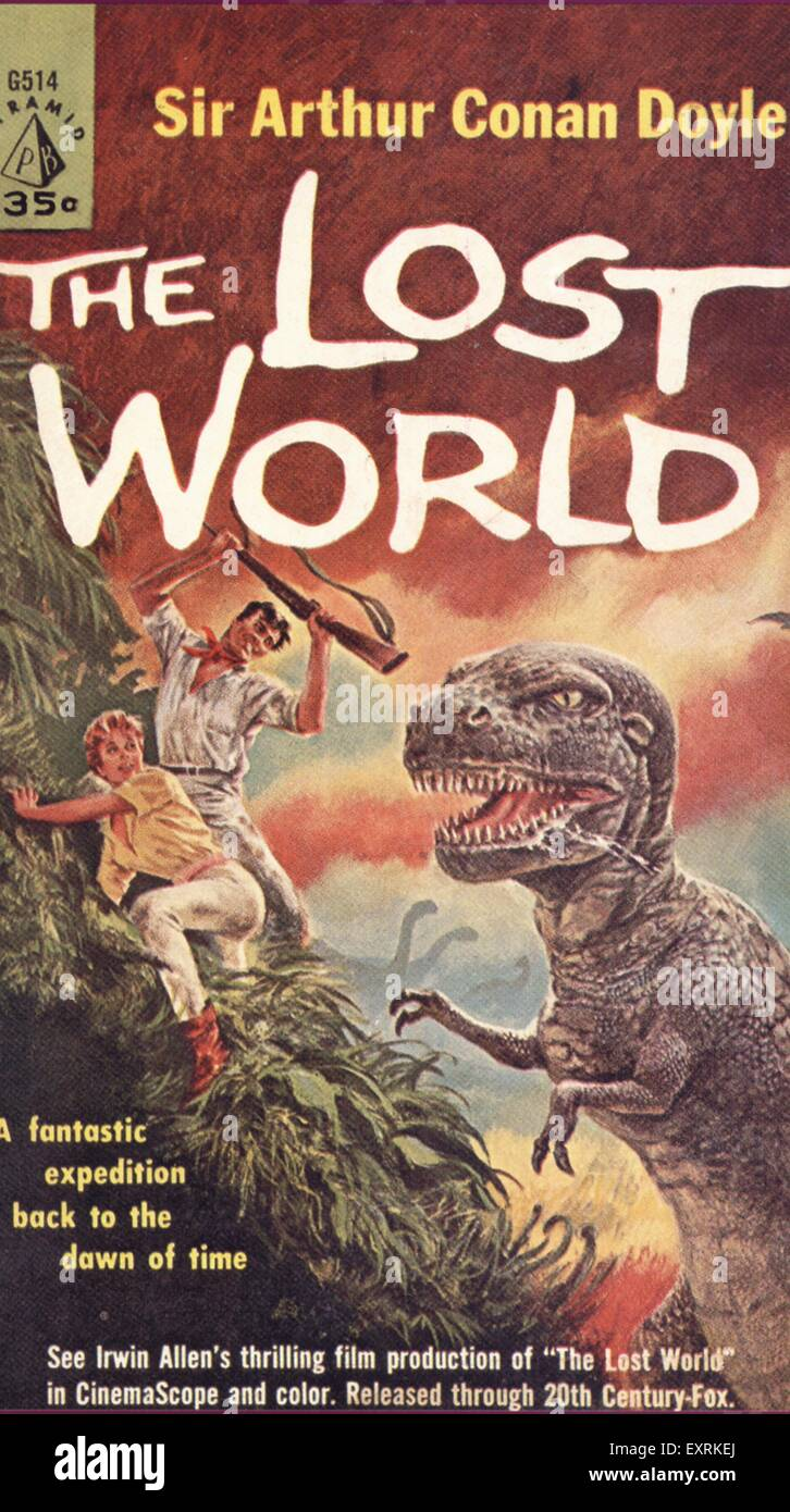 1940s USA The Lost World by Sir Arthur Conan Doyle Book Cover - Stock Image