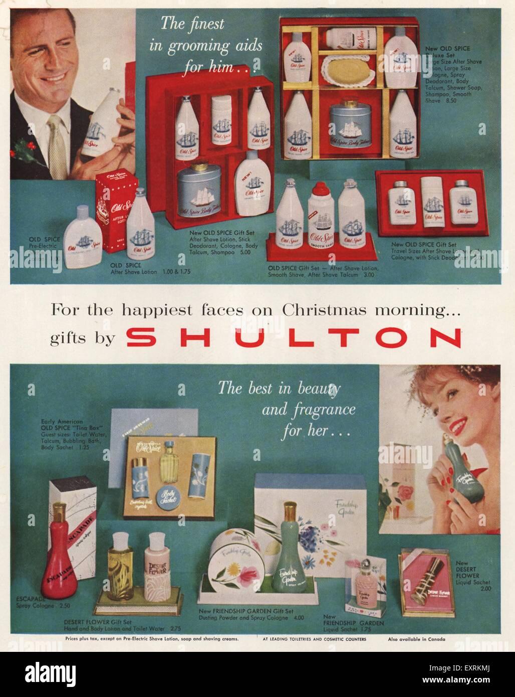 1950s Usa Old Spice Magazine Advert Stock Photo 85342898 Alamy