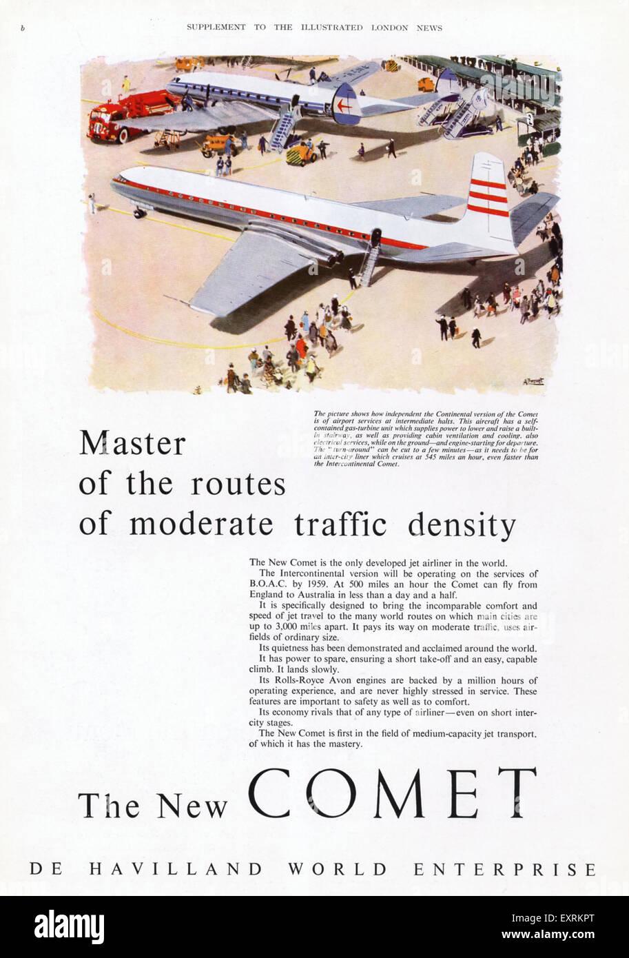 1950s UK De Havilland Magazine Advert - Stock Image