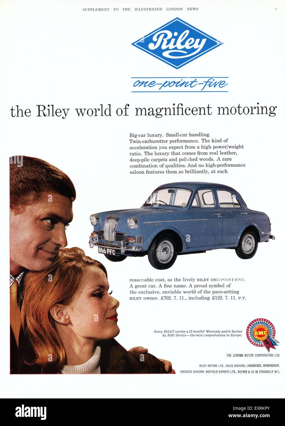 1960s UK Riley Magazine Advert - Stock Image