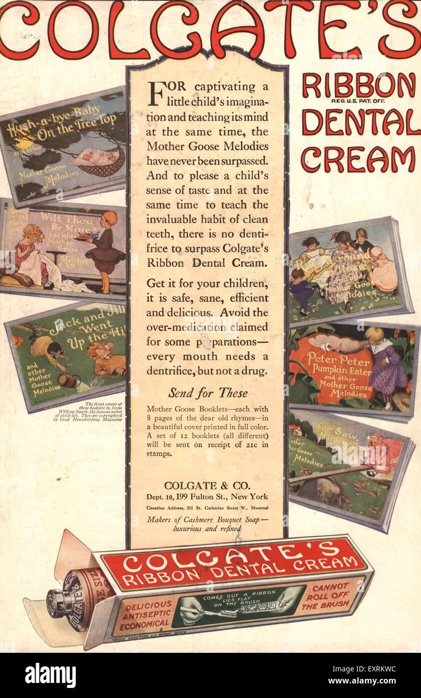 1910s USA Colgate's Magazine Advert Stock Photo: 85343032 - Alamy