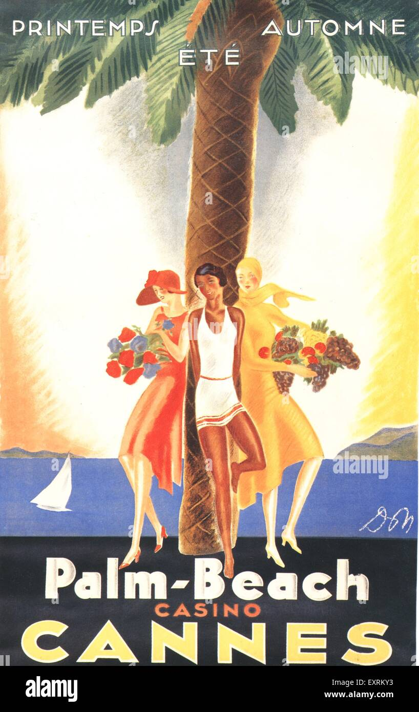1930s France Cannes Poster - Stock Image