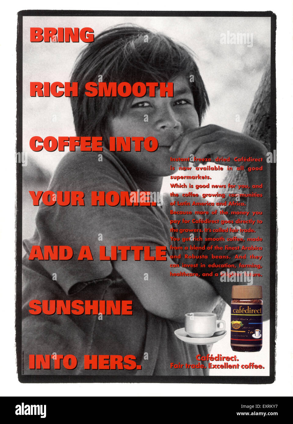 1990s UK Cafe Direct Magazine Advert - Stock Image