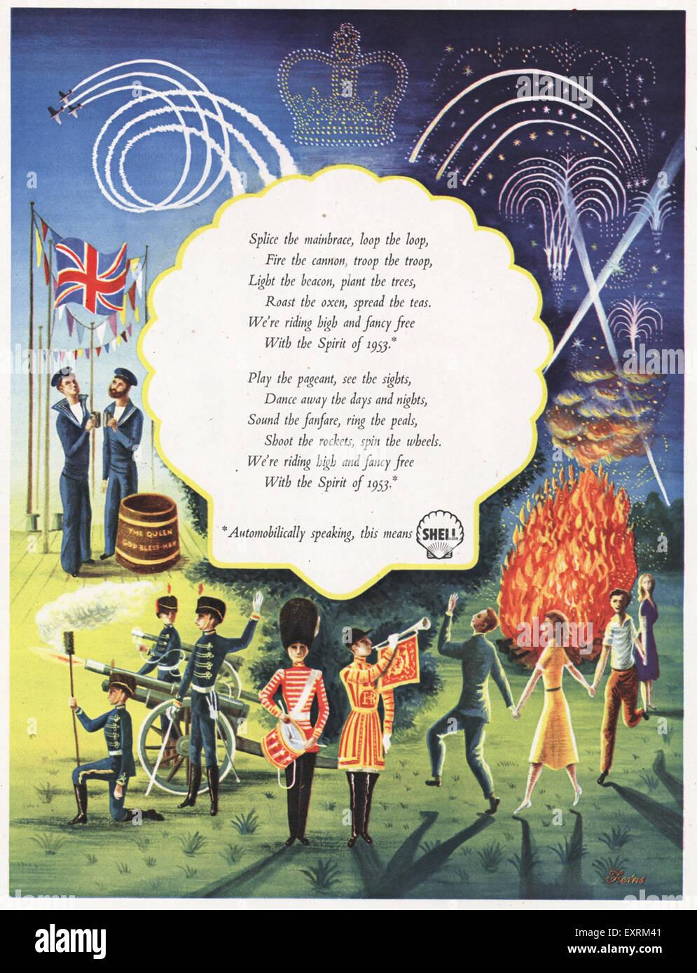 1950s UK Shell Coronation Magazine Advert - Stock Image