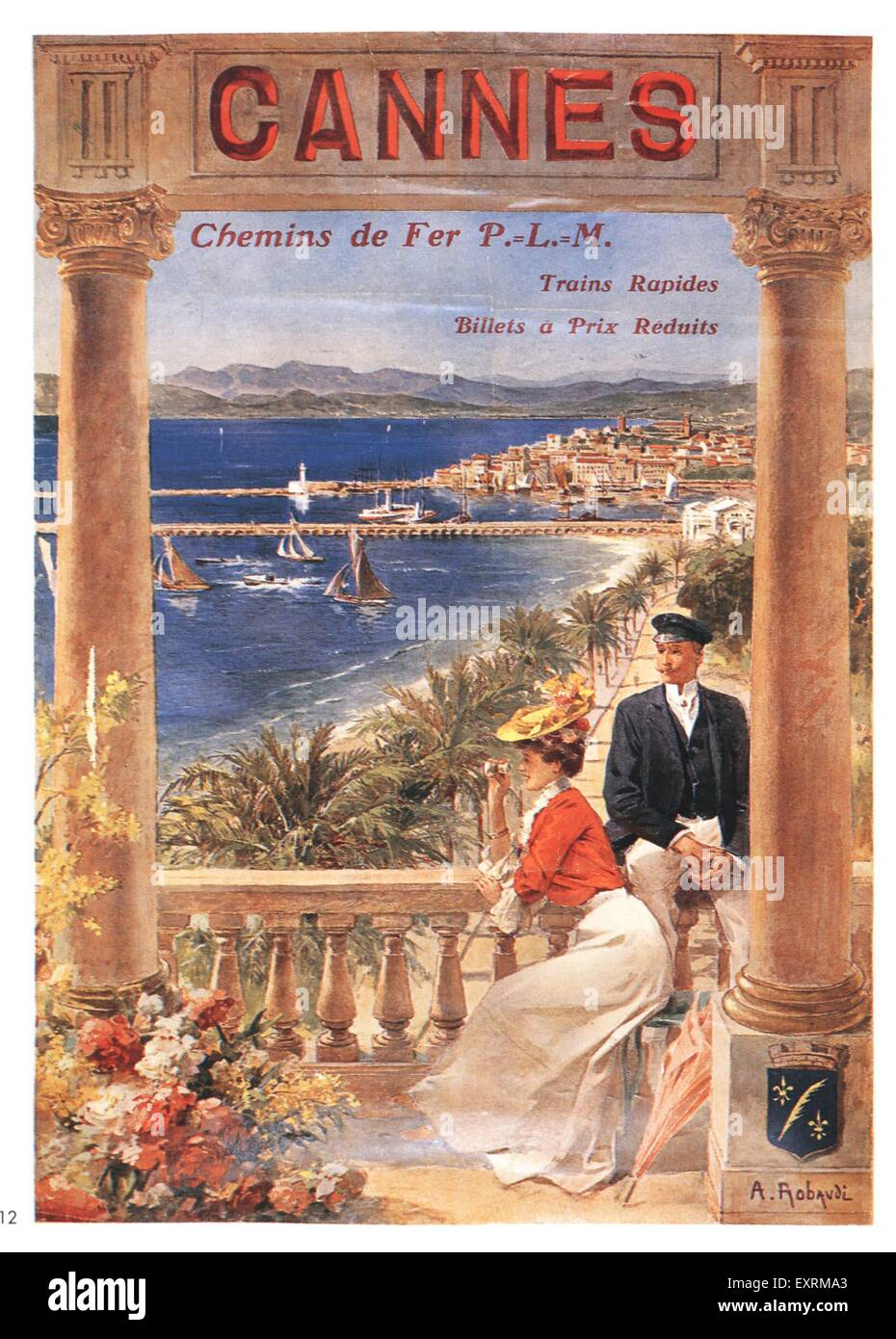 1910s France Cannes Poster - Stock Image