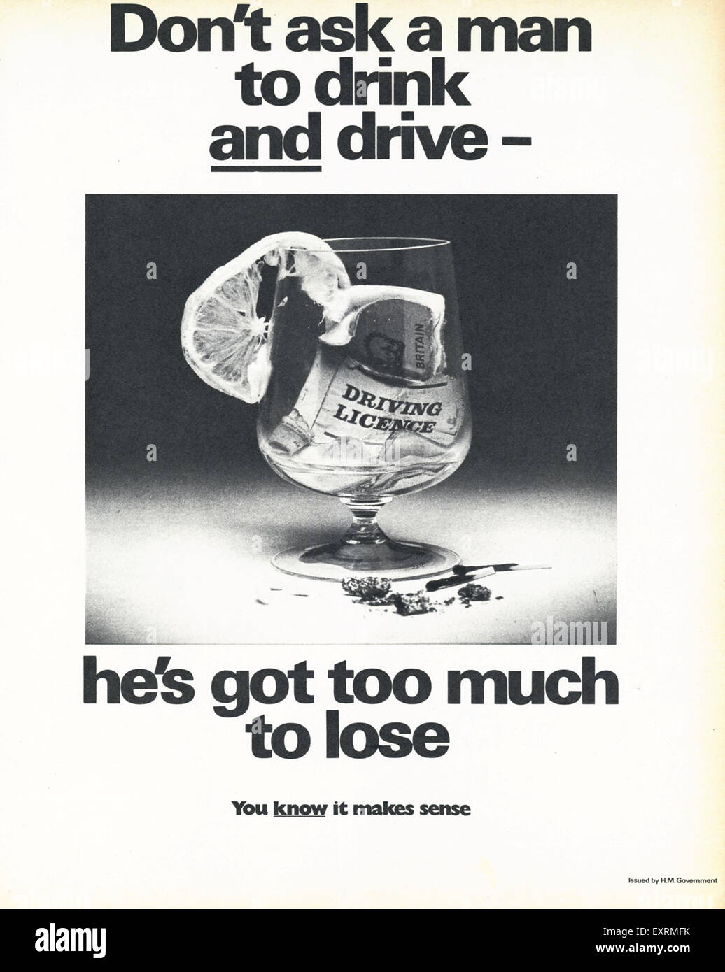 1960s UK Don't Drink and Drive Magazine Advert - Stock Image